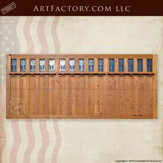 Craftsman garage door - custom wood doors overhead roll up design, leaded clear glass windows Craftsman Garage Door, Custom Garage Doors, Custom Wood Doors, Custom Garages, Craftsman Style, Roll Up Design, Roll Up Doors, Carriage Doors, Glass Panels