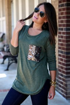 Sequin Pocket Tee {Olive}