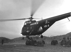 """In 1953 in Korea the Americans used the H19 (Sikorski S-55 """"Chickasaw"""") here by Marines carry ammunition to the front during the seven days of Haylift operation.  The French army will be the first experiment under fire for tactical transport. (Also manufactured in UK as Westland Whirlwind) - Photo © USMC Sgt.  Robert E. Kiser, USMC."""
