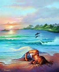 """""""Ocean dreams"""" by Jim Warren Giclee on Canvas. Jim Warren is one of the most creative and prolific artists of our time. His fine art paintings have been commissioned by many celebrities. Salvador Dali, Jim Warren, Art Picasso, Vladimir Kush, Photo D Art, Fine Art, Surreal Art, Belle Photo, Fantasy Art"""