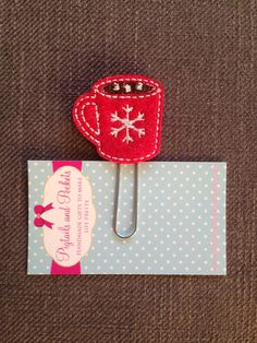 Felt Mug Paperclip Cute Red Sparkle Coffee by PigtailsandPockets