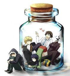 Tags: Anime, DURARARA!!, Orihara Izaya, Sturluson Celty, Yagiri Namie, Heiwajima Shizuo, Kishitani Shinra