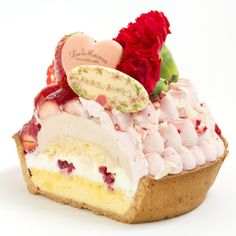 Topped with bouquet… Small Desserts, Gourmet Desserts, Mini Desserts, Sweet Desserts, Sweet Recipes, Delicious Desserts, Yummy Food, Bread Cake, Dessert Bread
