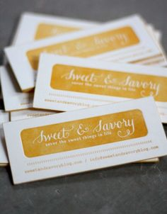 sweet & savory business cards #design
