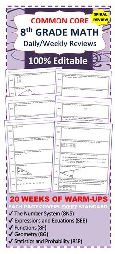 Need a SPIRAL REVIEW of the 8th Grade Common Core standards?   This resource contains 20 WEEKS of review specifically written for the common core math standards for 8th grade.   The review sheets are organized into 5 boxes. Each box contains problems from the 5 domains of the 8th grade CCSS standards including:  ✔ The Number System (8NS) ✔ Expressions and Equations (8EE) ✔ Functions (8F) ✔ Geometry (8G) ✔ Statistics and Probability (8SP)