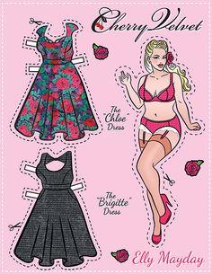 (⑅ ॣ•͈ᴗ•͈ ॣ)                                                            ✄Pin-Up Paper Dolls! – Cherry Velvet Plus