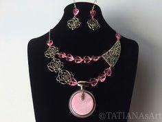 Colliers - Collier&Ohrringe Set #Pink fantasy# Perlmutt - ein Designerstück von TATIANAsArt bei DaWanda