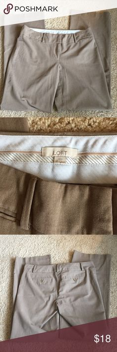 """Loft Marisa Classic Trouser Pant size 10 Ann Taylor Loft women's size 10 Marisa Classic Trouser in light brown. 33"""" inseam. Zip fly with hook and bar closure. Besom pockets. Back button through besom pockets. Great condition! LOFT Pants Trousers"""