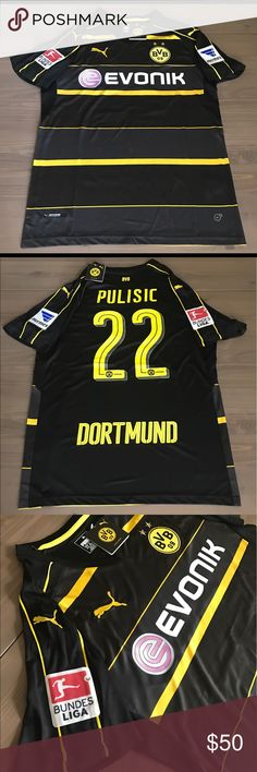 Borussia Dortmund away black Pulsic #22 soccer men Borussia Dortmund away black Pulsic #22 soccer men jersey Puma Puma Shirts Tees - Short Sleeve
