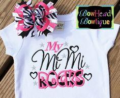 My Mimi ROCKS  Zebra White Applique Boutique by BowHeadBowtiqueInc, $28.00