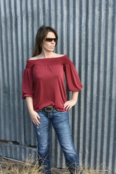 The Texas Cowgirl - Red Wine Off the Shoulder Blouse, $29.99 (http://www.thetexascowgirl.com/red-wine-off-the-shoulder-blouse/)