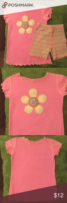 Mis Tee V Us 4T Girls Outfit Precious Outfit - 4T Girls by MisTeeV-Us  Shirt is Light Pink with Yellow flower Shorts are multi-color striped Mis Tee V Us Matching Sets