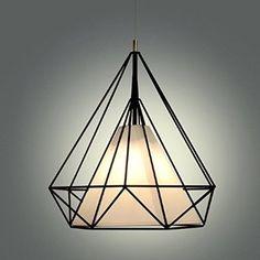 Modern Scandinavian Minimalist Bird Cage Pendant Lamps Art Diamond Pyramid Pendant Lights Vintage Iron Rustic loft pyramid lamp (Black) - - Amazon.com