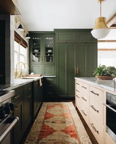 Zellige tile backsplash green cabinets marble countertops these are farrow & ball s must have colours for 2019 fresh kitchen trends that will be huge in 2019 zellige tile backsplash green cabinets . Home Decor Kitchen, New Kitchen, Home Kitchens, Kitchen Paint, Kitchen Ideas, Olive Kitchen, Light Green Kitchen, Gold Kitchen, Kitchen Pendants