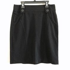 Black pencil skirt Faux pockets with button detail size small from cato no flaws very comfy  no split                          waist:15in with stretch   Hips:18 in.            Length:21in Cato Skirts Pencil