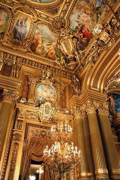 Grand Foyer, Opera House, Paris, France Plus Architecture Baroque, Beautiful Architecture, Beautiful Buildings, Architecture Details, Beautiful Places, Paris Opera House, Gold Aesthetic, Grand Foyer, Palaces