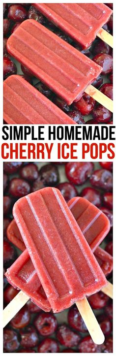 Healthy Snacks For Kids Simple Homemade Cherry Ice Pops Recipe. You're only 3 ingredients away from the best homemade frozen treats for kids via Healthy Popsicle Recipes, Ice Pop Recipes, Cherry Recipes, Ice Cream Recipes, Dessert Recipes, Cherry Popsicles, Healthy Popsicles, Homemade Popsicles, Yogurt Popsicles