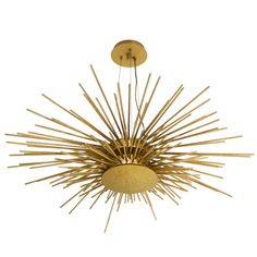 Hammered Brass Starburst Chandelier from Europe | See more antique and modern Chandeliers and Pendants at https://www.1stdibs.com/furniture/lighting/chandeliers-pendant-lights