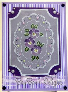 sweet handmade card in purples ... luv the peregamo panel with pansies ...