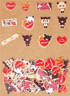 Chocopa bear heart cookie sticker sack San-X