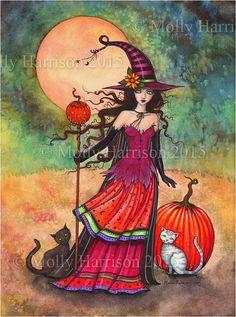 October Moon   Fantasy Art Original Witch Cat by MollyHarrisonArt