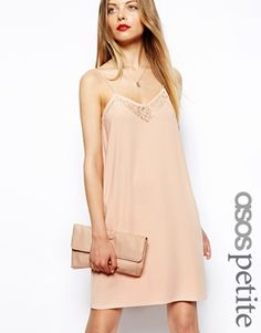Image 1 ofASOS PETITE Exclusive Skinny Cami Dress with Lace Insert