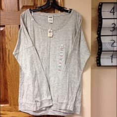 VS Pink gray tunic NWT VS Pink long sleeve tunic NWT plain/ perfect with a vest  PINK Victoria's Secret Tops Tunics