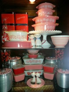 Vintage Pyrex, Holt Howard Shakers, Fenton Hobnail cake stand, vintage canisters, pink stems, kromex!
