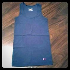 UA heat gear tank Grey with da rk pink UA symbol. EUC. Selling because I have too many. Under Armour Tops Tank Tops
