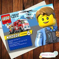 Custom LEGO CITY- Police - Firemen Birthday Invitation - Digital File - Printable Diy Birthday Themes, Lego City Birthday, Fireman Birthday, 6th Birthday Parties, Birthday Fun, Lego Invitations, Birthday Party Invitations, Invitation Ideas, Lego Banner