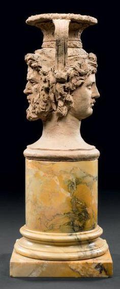 The Rhône and The Saône (right female) Vase. Terra cotta on a marble base. Porcelain Ceramics, China Porcelain, Painted Porcelain, Joseph, Sculpture Art, Sculptures, Compare And Contrast, Rhone, Vase