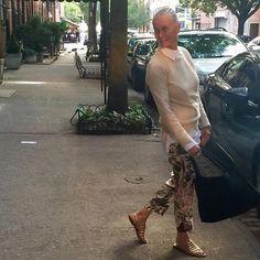 Perfect day In NYC #CrimsonCashmere crew neck #CrimsonCashmere white shirt #valentino silk pj pant #Rondini gold Tropezienne sandals @rondini_officiel And #antonello black embroidered cotton Bag