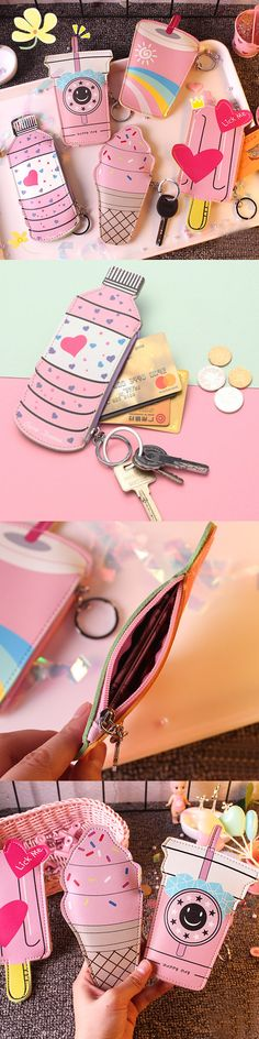 【 2 / US$11.50】Girls Cute Ice Cream Shape Coin Bag Milk Tea Key Bag Card Bags #CuteCoinwallets #PinkWallets  #CoinBags #KeyBags