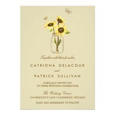 Vintage zonnebloemen uitnodiging