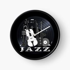 Jazz Lovers - Music On Vinyl by BlueMoonGear | Redbubble Vinyl Music, Vinyl Records, Jazz Instruments, Classic Jazz, Wall Clocks, Wallpaper S, Wall Murals, Colorful Backgrounds, I Shop