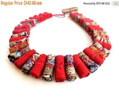HotSaleForYou Red Frida Kahlo fiber necklace ethnic by Gilgulim