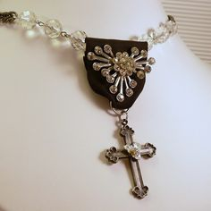 Vintage Upcycle Assemblage Black Ribbon Medal Rhinestone Cross Necklace by heldhighdesigns on Etsy $44.00