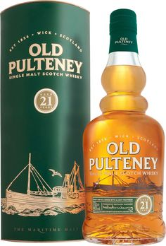 """Old Pulteney 21 Year Old Single Malt #Scotch Whisky. Named """"World Whisky of the Year"""" by the #Whisky Bible, this single malt was aged for 21 years in the Scottish Highlands. 