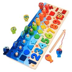 Toddler Gifts, Toddler Toys, Kids Toys, Wooden Puzzles, Wooden Toys, Wooden Blocks, Educational Toys For Preschoolers, Sorting Colors, Montessori Math