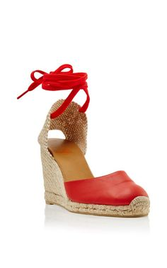 Soft leather salmon carina wedge by CASTAñER for Preorder on Moda Operandi