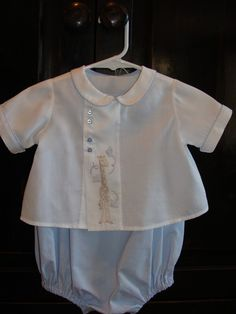 Custom Listing for Brooke D., Baby boy blue heirloom bubble and shirt with hand embroidery