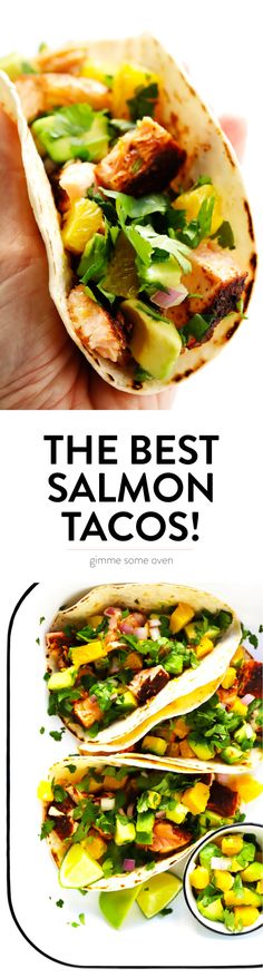 Super-Simple Salmon Tacos are topped with a juicy fresh orange avocado salsa, seasoned with a zesty chili rub, and can be on the table in just 30 minutes. A delicious, quick, easy and healthy dinner recipe that everyone will love! Salmon Recipes, Fish Recipes, Seafood Recipes, Mexican Food Recipes, Beef Recipes, Chicken Recipes, Recipies, Healthy Dinner Recipes, Cooking Recipes