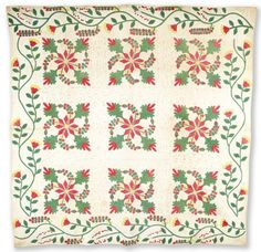 Coxcomb and Currants quilt - by Elizabeth Stark, 1853