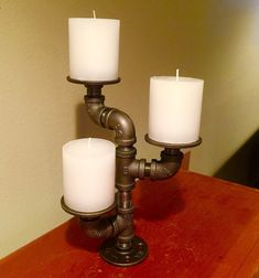 Industrial black pipe candle holder by PipeLineDesignStudio
