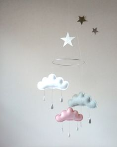 """White,Grey,Light Pink cloud mobile for nursery with silver star """"CHLOE"""" by The…"""
