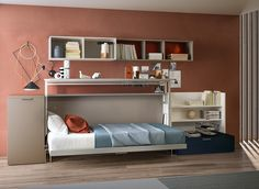 The Cabrio IN is a horizontally opening, twin size wall bed with a desk that lifts to allow the bed to be pulled down and is perfect for small spaces.