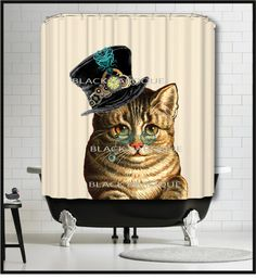 Steampunk Cat Shower Curtain - Kitty Cat Shower Curtain by MySillyPoni Cat Rug, Cat Shower Curtain, Coastal Living Magazine, Steampunk Cat, Cat Bath, Kensington And Chelsea, Pet Furniture, Cat Decor, Antique Illustration