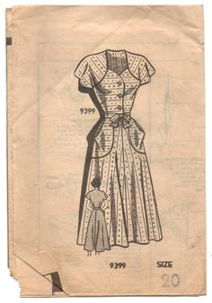 """1940's Mail Order One-Piece Dress with Cape Sleeves - Bust 38"""" - UC/FF - No. 9399"""