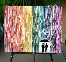 Gay Wedding Gift Melted Crayon Art, Gay Men Art, Couple Gift For Boyfriend, Silhouette Rain Painting, Rainbow Painting, Wax Painting 22x28 by FemByDesign on Etsy