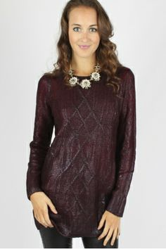 Burgundy Coated Sweater $39.99 #burgundy #coated #tunic #sweater #sophieandtrey